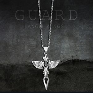 NWT Silver Stainless Steel Guardian Angel Wings Necklace
